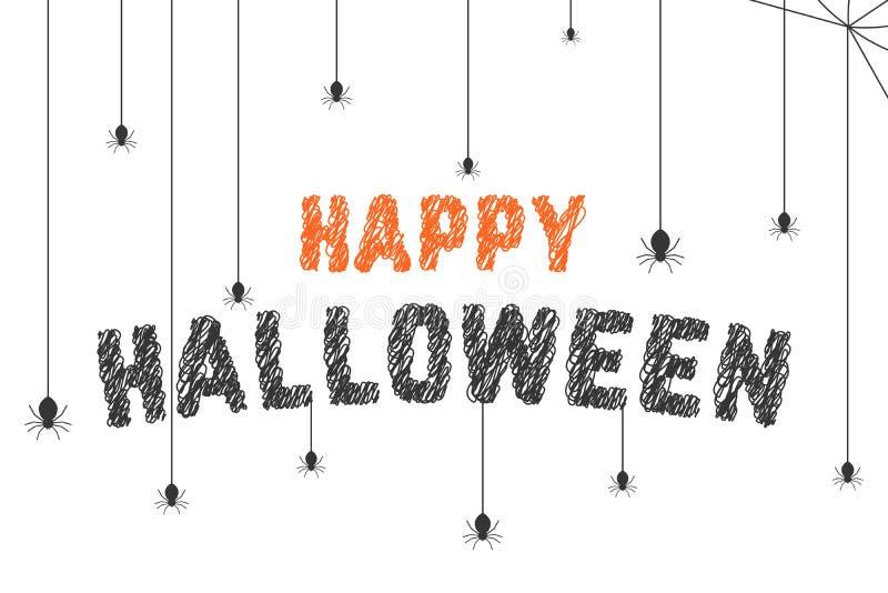 Skrobaniny Halloween szczęśliwy tekst z pająk siecią ilustracja wektor