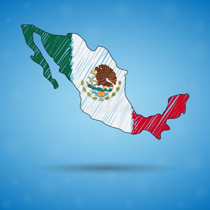 Skrobaniny mapa Meksyk Nakreślenie kraju mapa dla infographic, broszurki i prezentacje, Stylizowana nakreślenie mapa Meksyk ilustracji