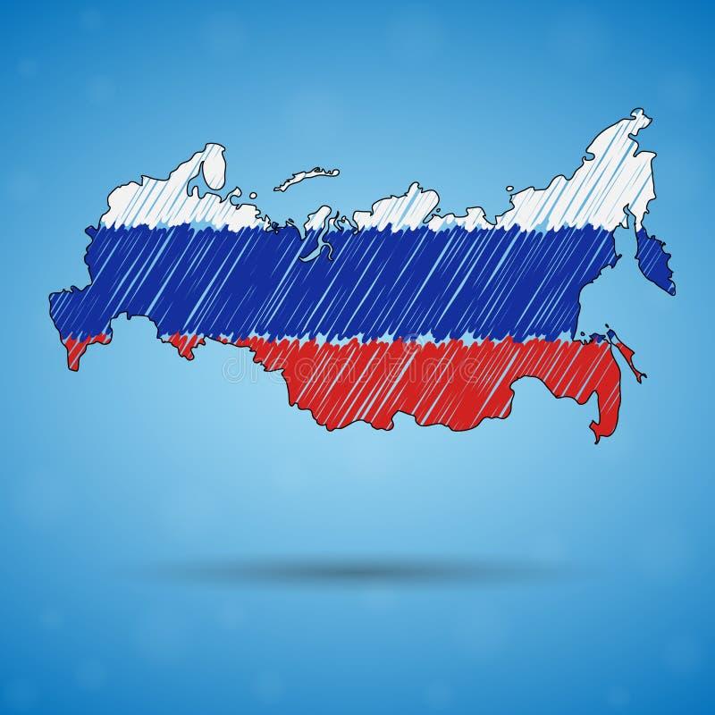 Skrobaniny mapa Rosja Nakreślenie kraju mapa dla infographic, broszurki i prezentacje, Stylizowana nakreślenie mapa Rosja royalty ilustracja