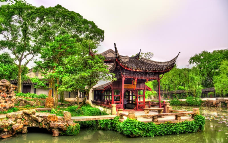 Skromnie administratora ogród wielki ogród w Suzhou zdjęcie stock