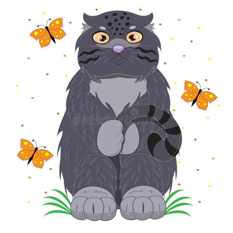 Skromny kota manul na łące ilustracji