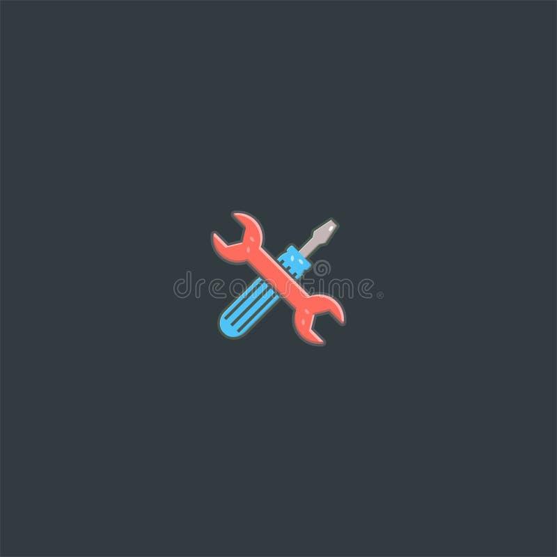 Skruvmejsel- och hjälpmedellogodesign mall för vektor för symboldan symbol royaltyfri illustrationer
