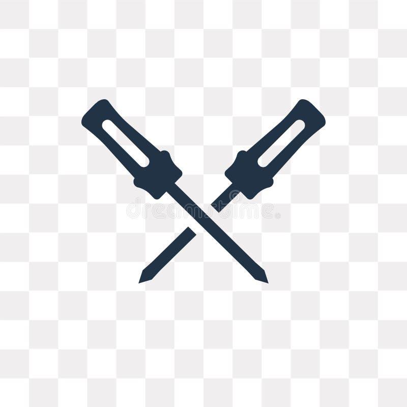 Skruvmejselvektorsymbol som isoleras på genomskinlig bakgrund, Scre vektor illustrationer