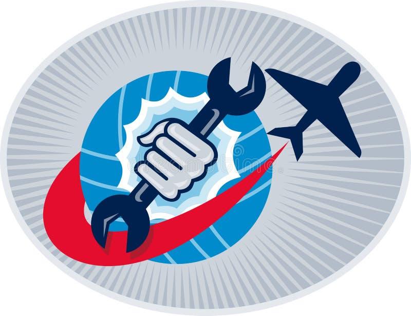 skruvnyckel för mekaniker för flygplanflyghand royaltyfri illustrationer