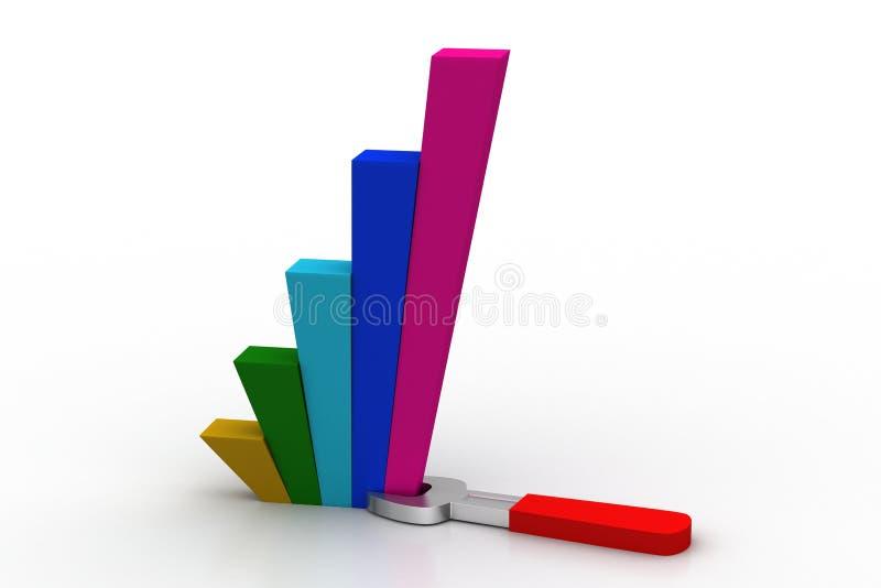 Skruvnyckel med den finansiella grafen royaltyfri illustrationer