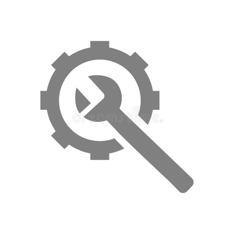 skruvnyckel reparation, hammare, skiftnyckel, konstruktion, design, inställningar, utrustning, service, underhåll, symbol för tek stock illustrationer