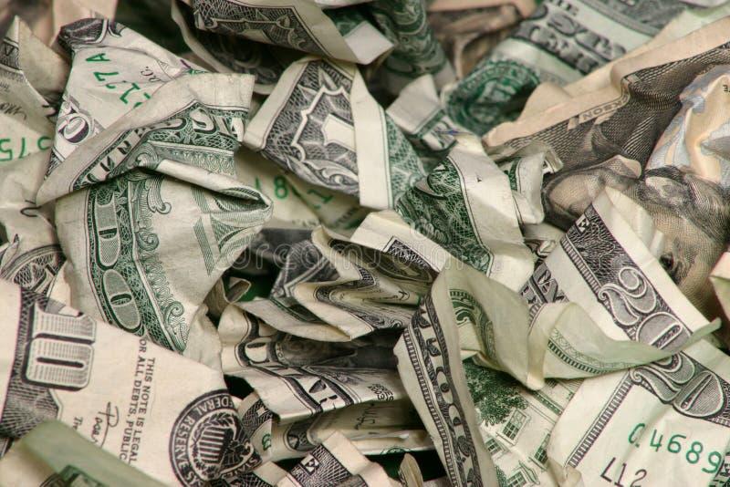 skrynkliga pengar arkivfoto