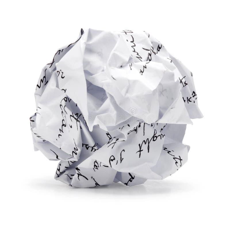 Skrynkligt av papper för fria händerskriftskräp i bollform royaltyfri bild