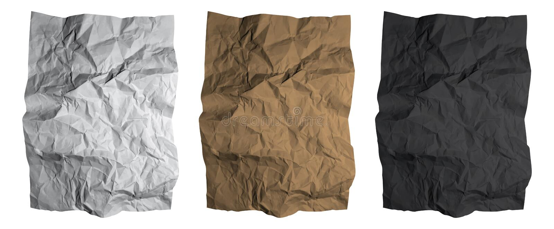 skrynkligt paper ark Texturer för för svart, vit och brun papper ställde in vektor vektor illustrationer