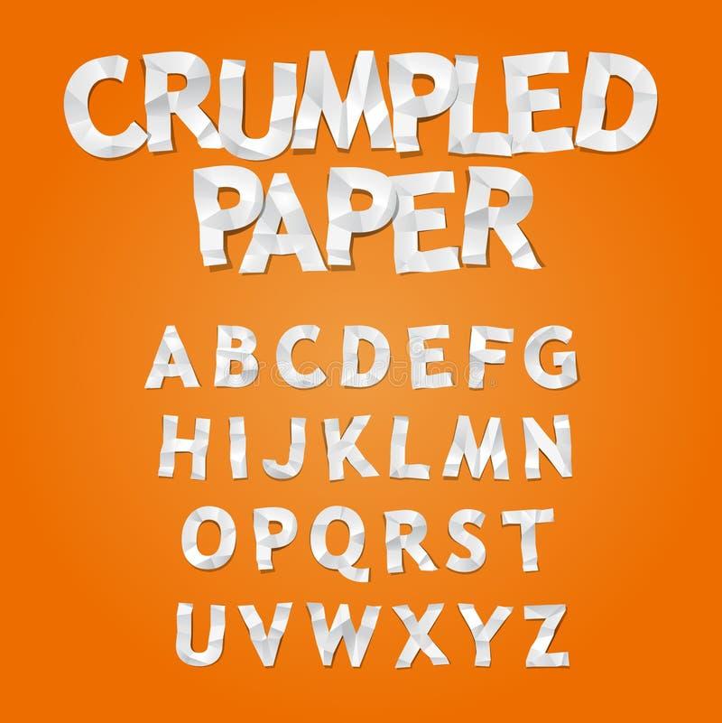 Skrynkligt pappers- alfabet vektor illustrationer