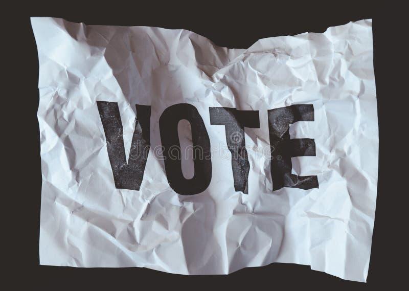 Skrynkligt pappers- withÂord att rösta utskrivavet, Â-kollaps av demokrati royaltyfri foto