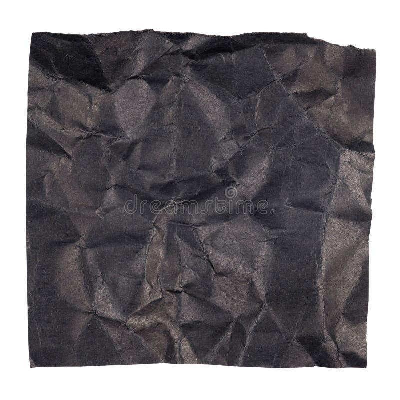 Skrynkligt svart papper royaltyfri bild