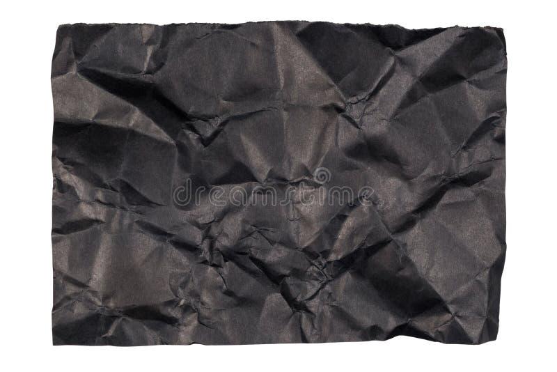 Skrynkligt svart papper royaltyfria bilder