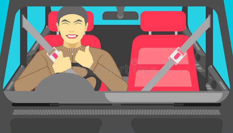 Skrytka prowadnikowy samochód mężczyzna w ten sposób szczęśliwy iść na drodze gdy stawia zbawczego pasek przed ilustracja eps10 ilustracji