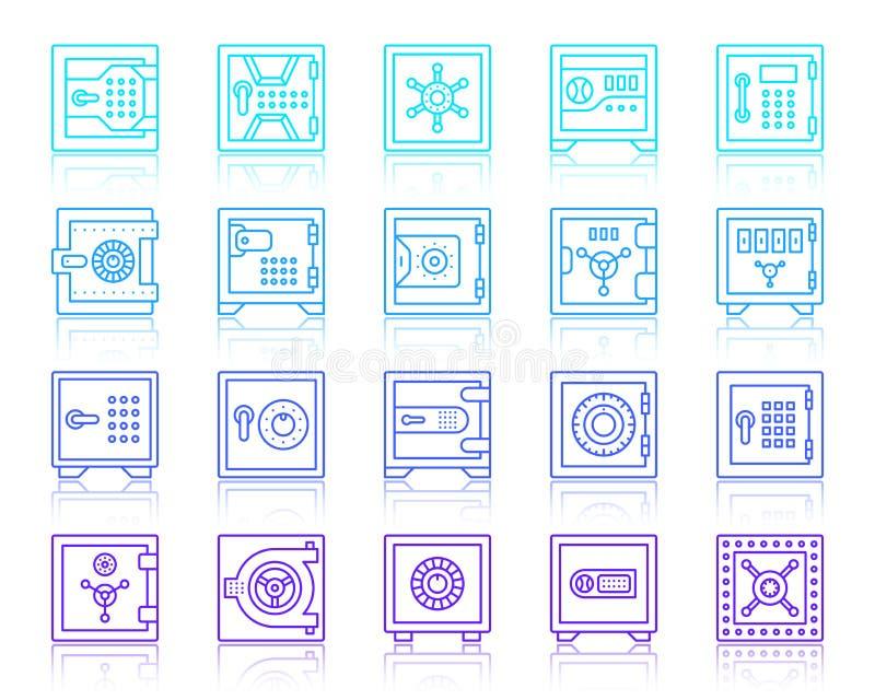 Skrytki sklepieniowej ochrony ikon wektoru prosty kreskowy set ilustracji