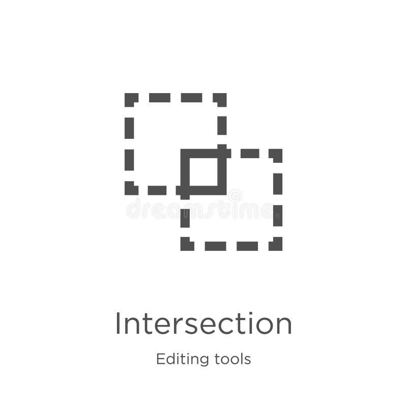 skrzyżowanie ikony wektor od edytorstwa wytłacza wzory kolekcję Cienka kreskowa skrzyżowanie konturu ikony wektoru ilustracja Kon ilustracja wektor