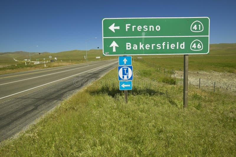 Skrzyżowanie Kalifornia stanu autostrady 46, 41 i, dokąd aktor James Dean umierał w wypadku samochodowym w 1950s zdjęcie royalty free
