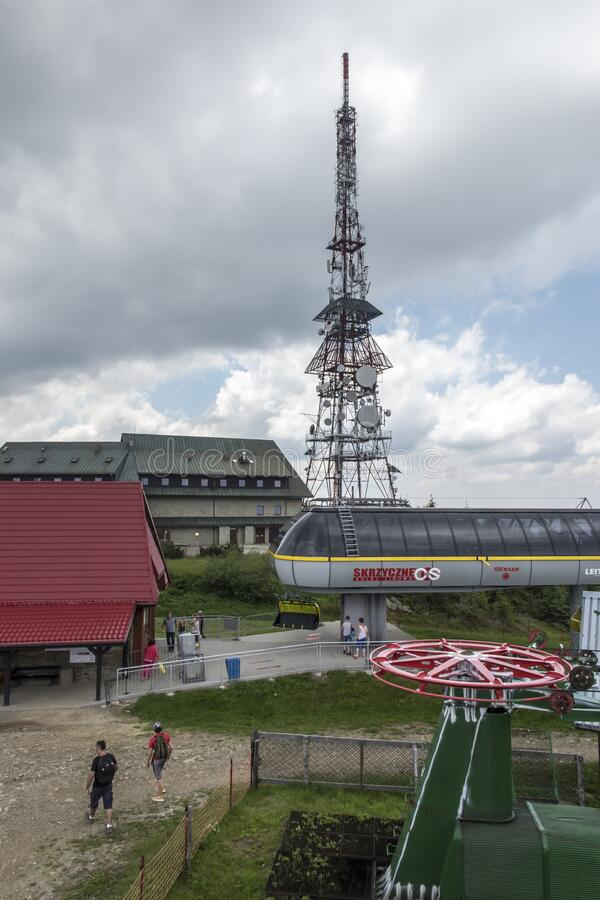 Free Skrzyczne, Poland, July 04, 2020: Peak, With A Tourist Hostel, Meteorological Station And Telephony Tower And Chair Lift Station Royalty Free Stock Photos - 190136478