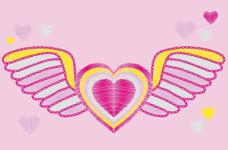 skrzydła serc ilustracji