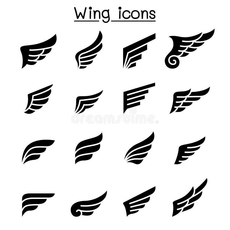 Skrzydłowy ikona set ilustracji