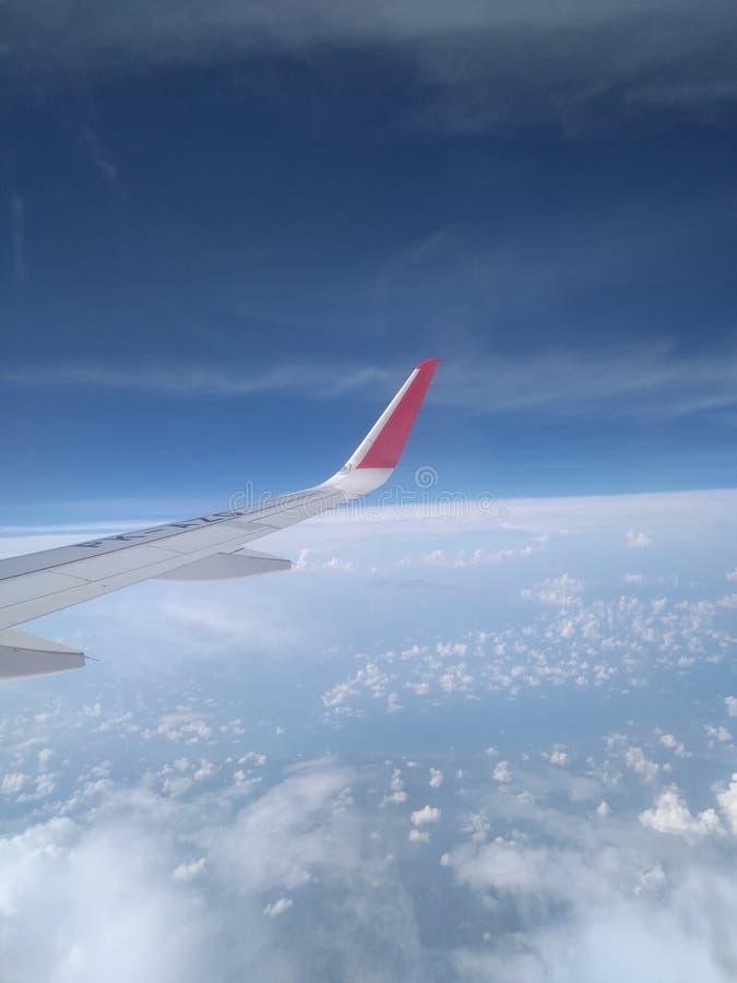 Skrzyd?a samolot w niebie fotografia royalty free