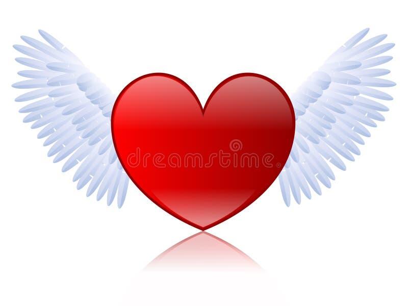 skrzydlata serce ilustracja wektor