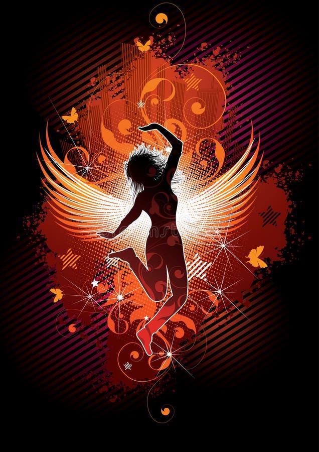 skrzydlaty stwór tańcząca dziewczyna ilustracja wektor