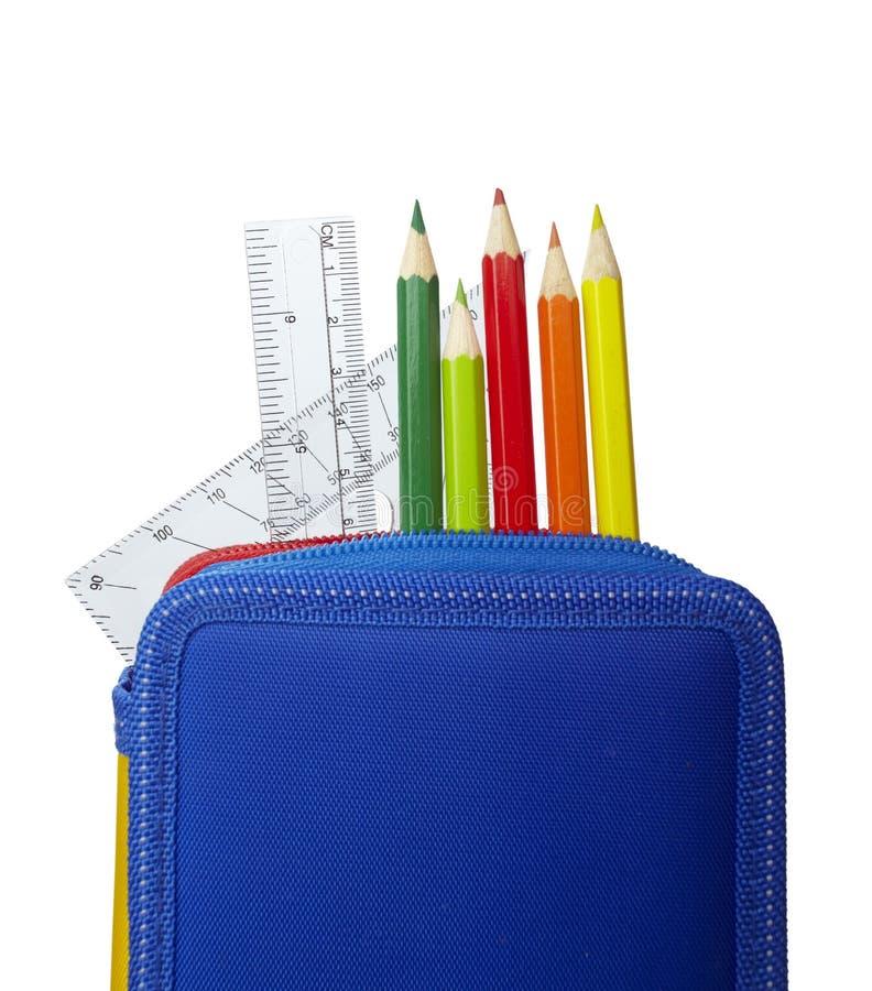 skrzynka edukaci ołówka władc szkoła zdjęcie stock
