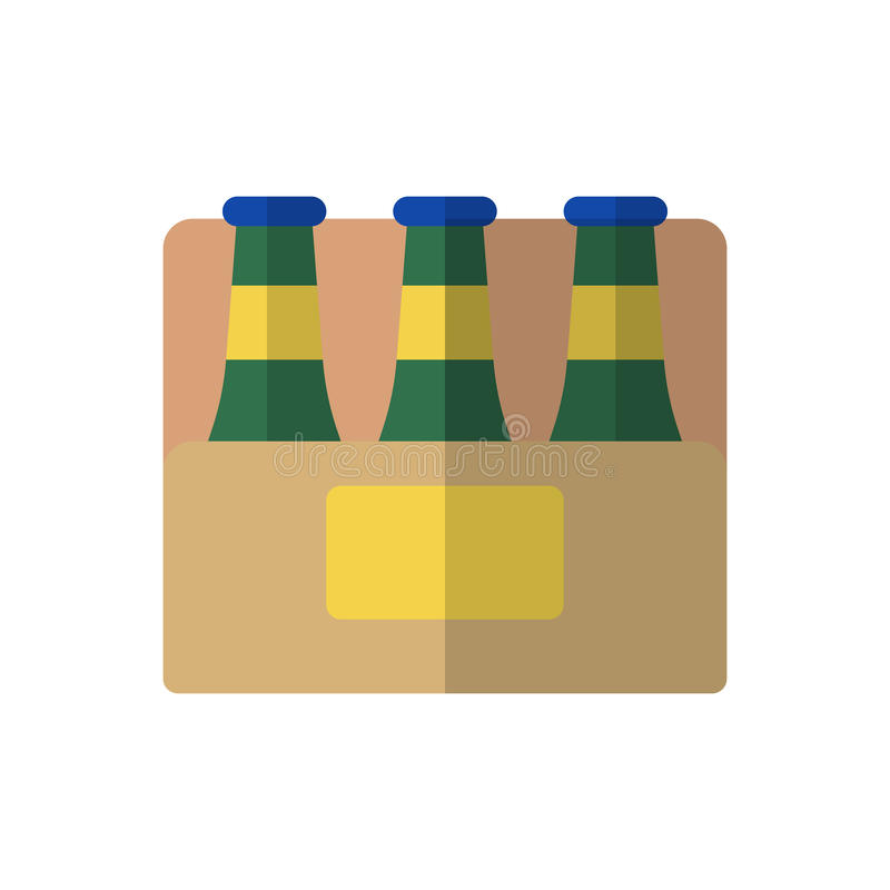 Skrzynka piwna płaska ikona, wypełniający wektoru znak, kolorowy piktogram odizolowywający na bielu ilustracji