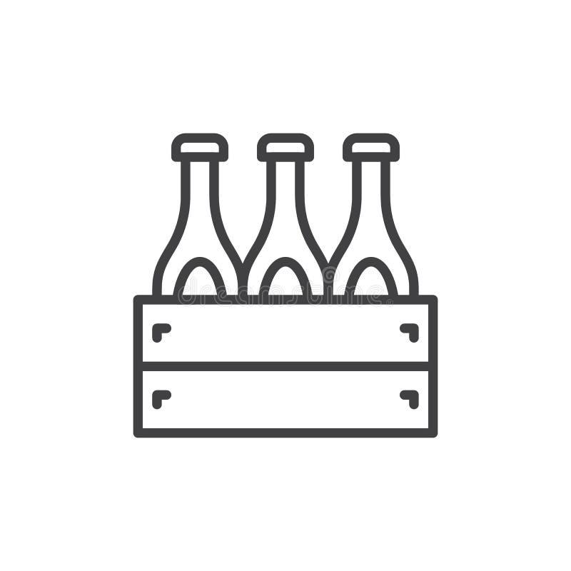 Skrzynka piwo linii ikona, konturu wektoru znak, liniowy stylowy piktogram odizolowywający na bielu royalty ilustracja