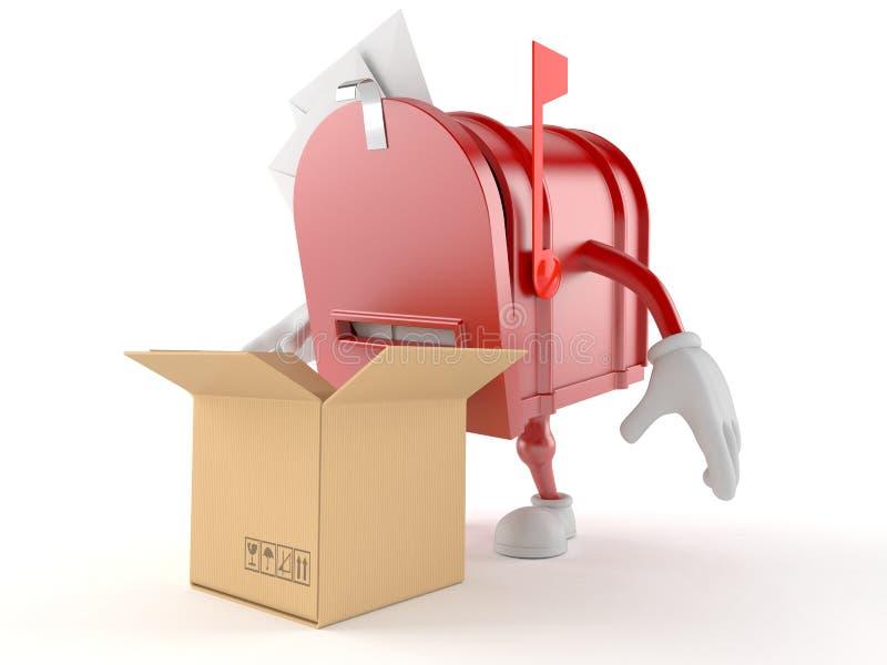 Skrzynka pocztowa charakter z otwartym pudełkiem ilustracja wektor