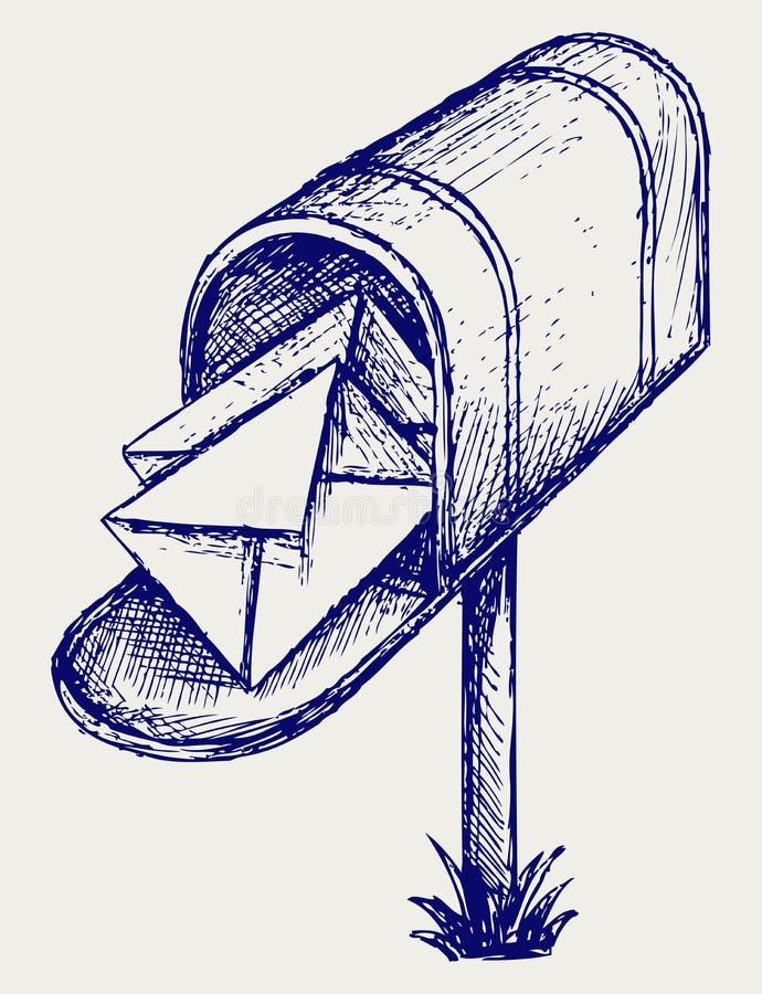 Skrzynka pocztowa. Doodle styl ilustracji