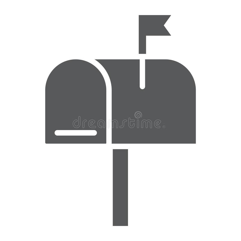 Skrzynka pocztowa glifu ikona, list i poczta, skrzynka pocztowa znak ilustracja wektor