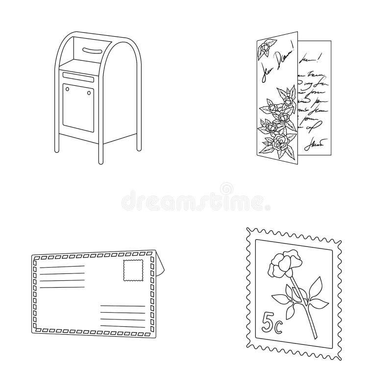Skrzynka pocztowa, gratulacyjna karta, znaczek pocztowy, koperta Poczta i listonosza ustalone inkasowe ikony w konturze projektuj royalty ilustracja