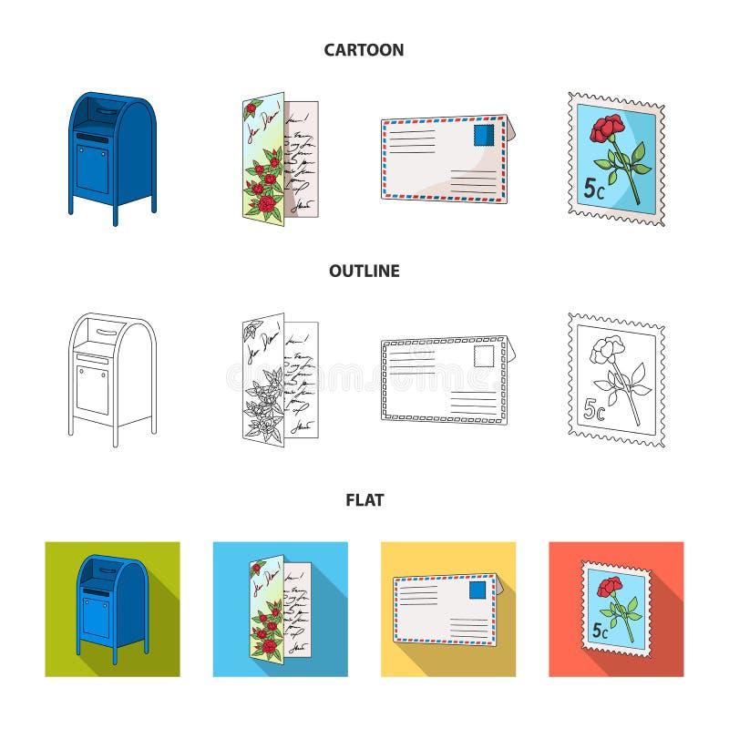 Skrzynka pocztowa, gratulacyjna karta, znaczek pocztowy, koperta Poczta i listonosza ustalone inkasowe ikony w kreskówce, kontur, ilustracja wektor