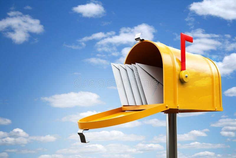 skrzynka pocztowa kolor żółty royalty ilustracja