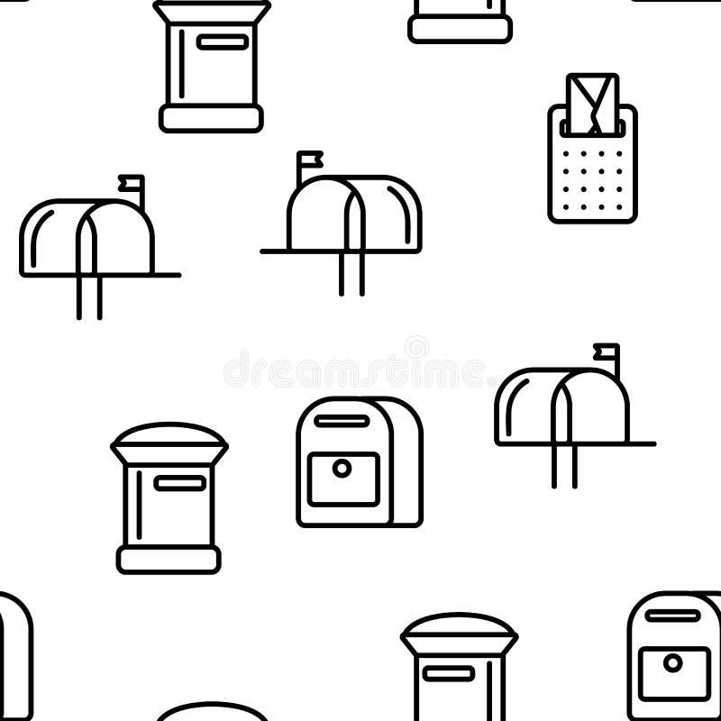 Skrzynka Pocztowa, poczta Wektorowy Bezszwowy wzór, Liniowy I Płaski ilustracja wektor