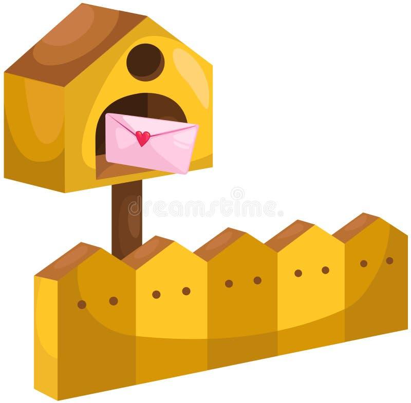 Skrzynka pocztowa z listem miłosnym ilustracja wektor