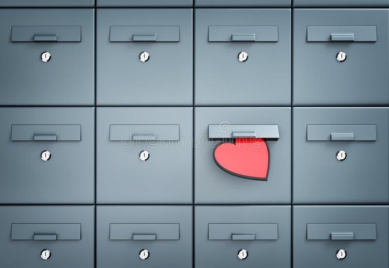 Skrzynka pocztowa z sercem - list miłosny ilustracji