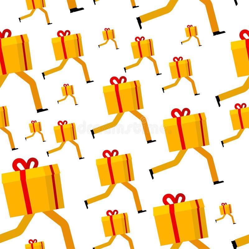 Skrzynka upominkowa jest płynna z wzorkiem Dostawa prezentu Prezent świąteczny w tle Tekstura wektorowa Xmas i New Year ilustracji