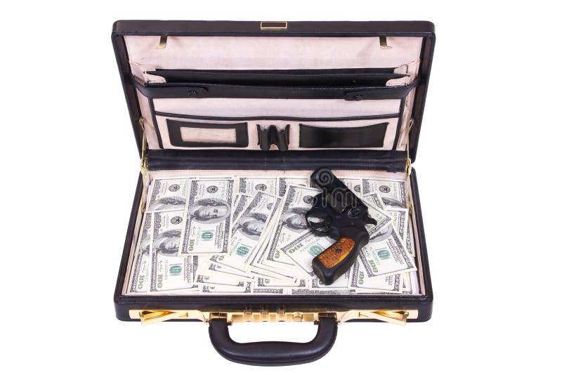 Skrzynka z pieniądze i koltem zdjęcia royalty free