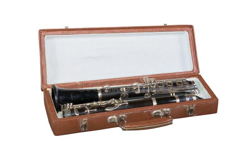 Skrzynka z starym klarnetem obraz royalty free
