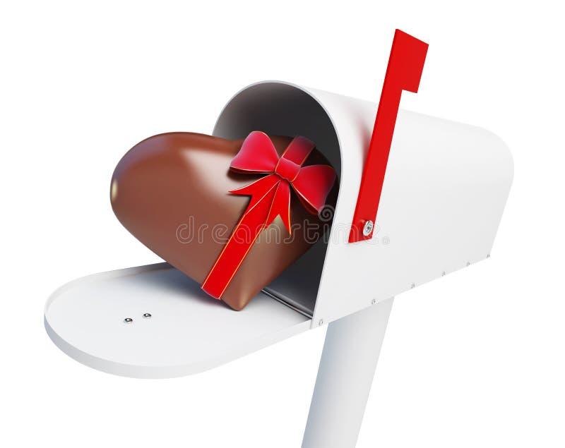 Skrzynki pocztowa Czekoladowy serce na białej tła 3D ilustraci royalty ilustracja