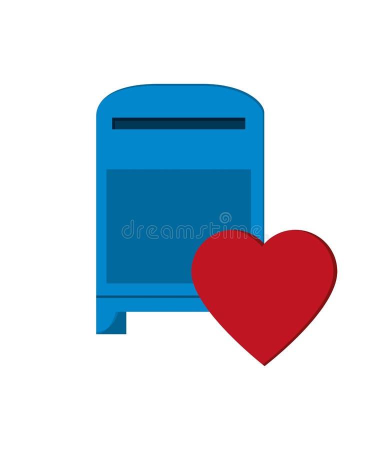 Skrzynki pocztowa i serca powiadomienia ikona royalty ilustracja