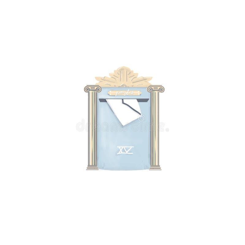 Skrzynki pocztowa posta list rysuje cyfrową element ilustrację dla listów do domu Greece posta na białym tle ilustracji