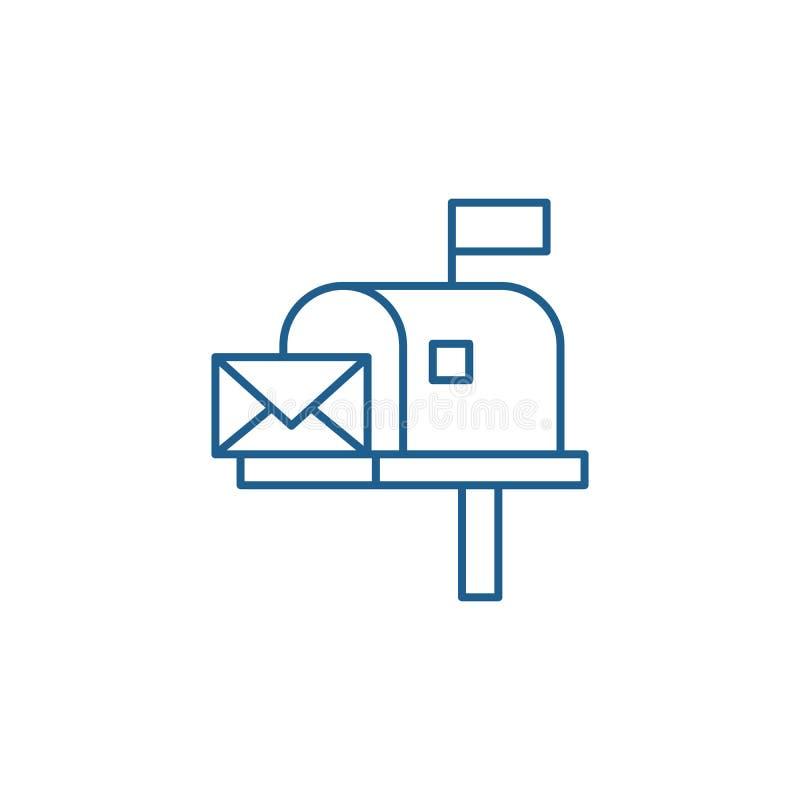 Skrzynki pocztowej ikony kreskowy pojęcie Skrzynka pocztowa płaski wektorowy symbol, znak, kontur ilustracja royalty ilustracja