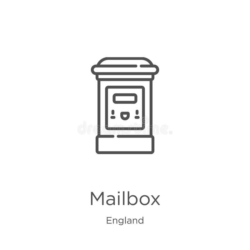 skrzynki pocztowej ikony wektor od England kolekcji Cienka kreskowa skrzynka pocztowa konturu ikony wektoru ilustracja Kontur, ci ilustracji