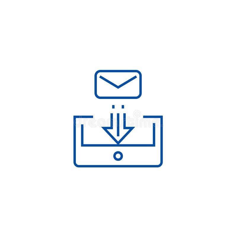 Skrzynki pocztowej poczty linii ikony pojęcie Skrzynki pocztowej poczty płaski wektorowy symbol, znak, kontur ilustracja royalty ilustracja
