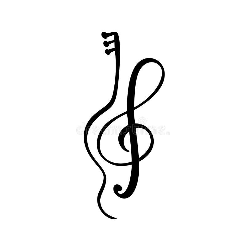 Skrzypce, gitary i treble clef muzyki klucza abstrakcjonistyczna ręka rysująca wektorowa ikona, i logo Muzykalnego tematu projekt royalty ilustracja