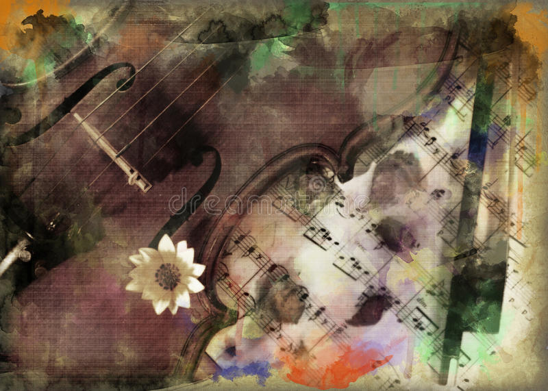 Grunge muzyka i skrzypce zdjęcie stock